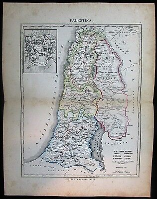Palestine Israel Holy Land Jerusalem Judea c.1865-70 Petri rare antique map