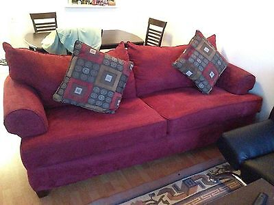 """Used Red Faux Suede Couch(7'5"""" X 3'3"""")"""