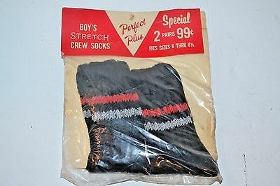 VINTAGE New Perfect Plus 2-Pack Boys Stretch Black Crew Socks SPAND-O-SOX 6-8.5