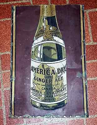 Rare 30's Large America Dry Canadian Ginger Ale Cola Tin Soda Pop Bottle Sign!