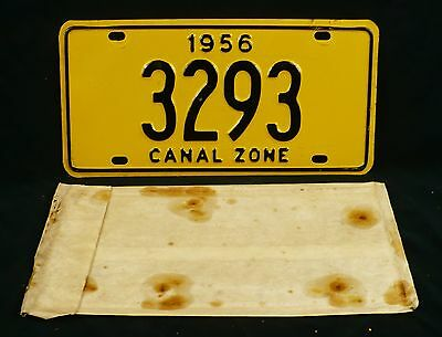 All Original 1956 Canal Zone License Plate with envelope 3293