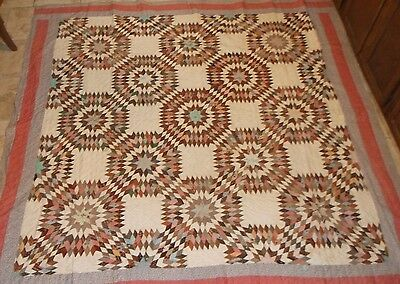 "ANTIQUE  Star Quilt   HAND STITCHED  Hand Quilted   83"" x 89"""