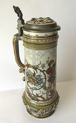 Antique Mettlach Villeroy & Boch Stein #1734 c.1889 - etched C.Warth.  Near Mint