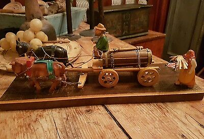 Early Folk Art Made In Germany /wagon.bull & Horse & People.plays Music