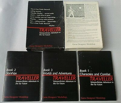 Games Workshop TRAVELLER 1st edition? SCI-FI ROLE PLAYING Books 1, 2 & 3 in Box