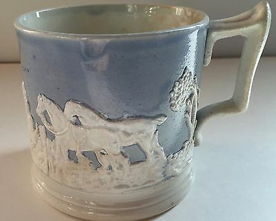 19th Century Late Georgian English Blue Dipped Sprig Moulded Mug Hunt Scene