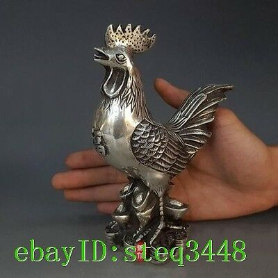 "7""Chinese Pure Silver Carving Money Wealth Yuanbao Chicken Animal Statue Antique"