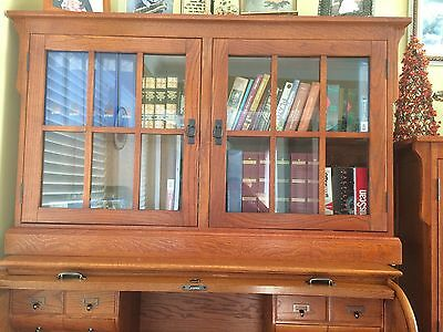 Set of Three Wood and Glass Bookcases