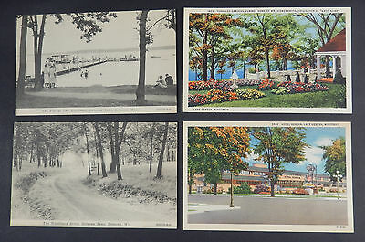 4 Antique Unused Wisconsin Linen Postcards- Early Color Lithograph Black & White