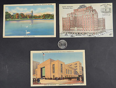 3 Antique Unused Minneapolis MN Linen Postcards- Early Color Lithograph