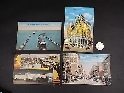 4 Antique Unused Duluth MN Linen Postcards- Early Color Lithograph
