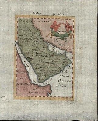 Saudi Arabia Middle East Dragon cartouche 1719 Mallet charming antique color map