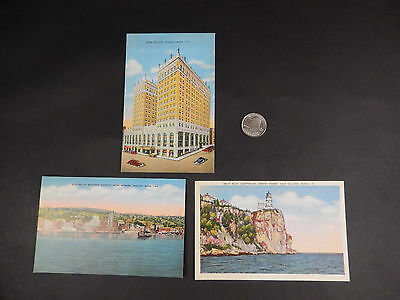 3 Antique Unused Duluth MN Linen Postcards- Early Color Lithograph