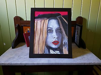 Timber Photo Frame 28x35cm with Original Mixed-Media Artwork Portrait of a Lady