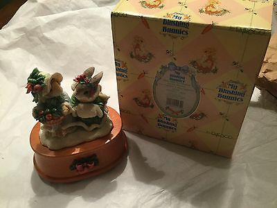 NIB Enesco My Blushing Bunnies Girls With Fruit Basket Music Box