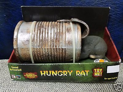 Gemmy NIB Halloween Hungry Rat in Tin Can Sound or Touch Activated 2005 Gag Toy
