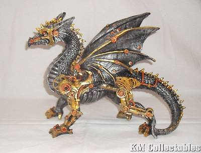 Steampunk Dragon Ornament. Free P&P. Mechanical Gears, Gold, Brass, Bronze