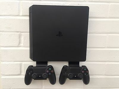 PS4 SLIM Only Wall Mount Bracket Kit In Black Inc. Brackets For Controllers
