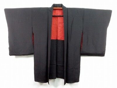 Vintage 1950's Japanese Black Silk Wedding Kimono Jacket 'Urushi Birds' 10L-14L