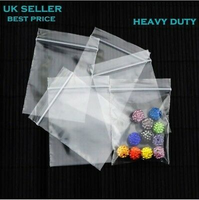 HEAVY DUTY 300 Gauge Grip seal Self Resealable Clear Plastic Poly Bags All Size