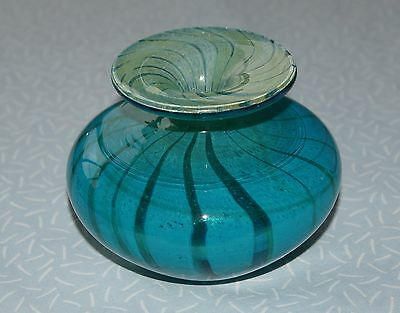"Mdina Art Glass Bright Turquoise Blue Green Swirl Heavy Squat Vase 4.5"" - Signed"