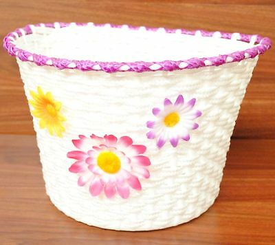 White Bicycle Bike Flower Front Basket Classic/vintage