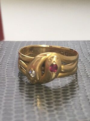 Ruby and Diamond, 18 ct Yellow Gold 'Snake' Dress Ring - Antique1896