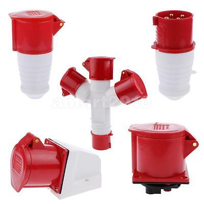 Multifunction Waterproof 3 Way Splitter Socket Adapter w/ Cover Red White