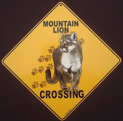 MOUNTAIN LION CROSSING Sign aluminum decor cats home animals novelty  wildlife