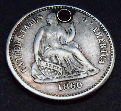 RARE 1860 USA Seated Liberty Silver 5 Cent Half Dime holed coin