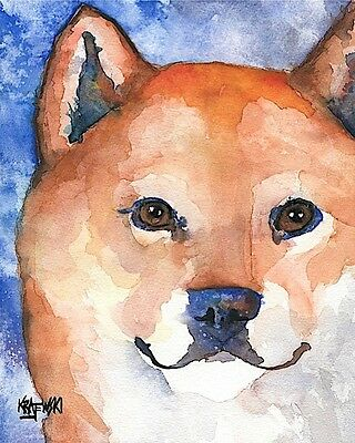 Shiba Inu Art Print Signed by Artist Ron Krajewski Painting 8x10