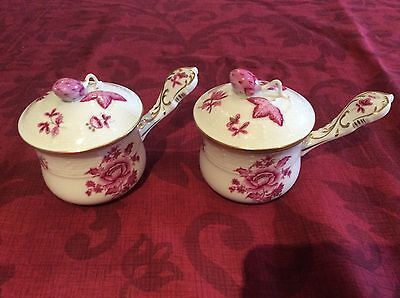 Herend Pair Of Nanking Bouquet Cream Soup Dish With Ornate Lids Both Perfect