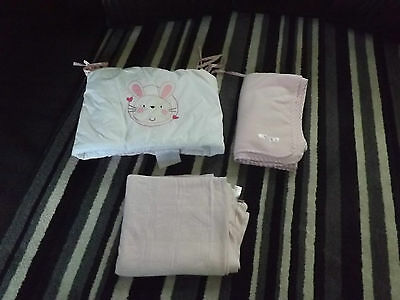 Pink 3 Piece Cot Or Cot Bed Set