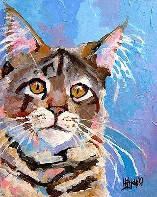 Maine Coon Cat Art Print Signed by Artist Ron Krajewski Painting 8x10