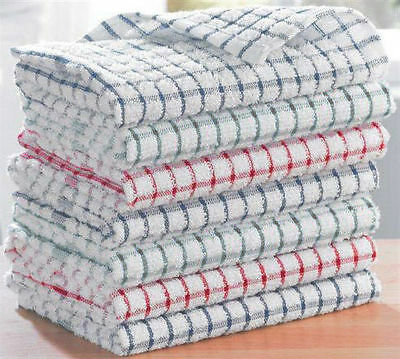 Pack Of 15 - 100% Cotton Kitchen Cleaning Dish Cloths Drying Terry Tea Towels