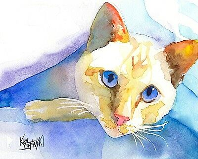 Siamese Cat Art Print Signed by Artist Ron Krajewski Painting 8x10