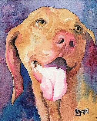 Vizsla Art Print Signed by Artist Ron Krajewski Painting 8x10 Hungarian
