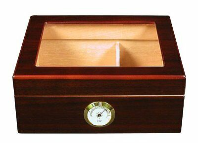 Cigar Humidor Box Mantello Humidifier Quality Importers Wood Case Glass Desktop