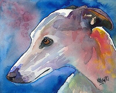 Whippet Art Print Signed by Artist Ron Krajewski Painting 8x10