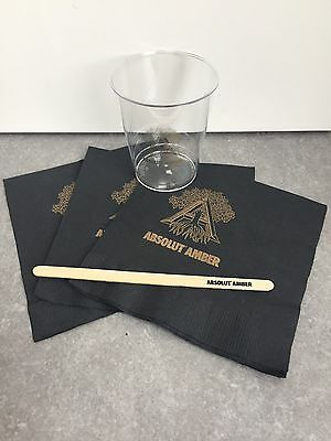Absolut Vodka Amber Cup, Stirrer And Napkins, Rare And Discontinued