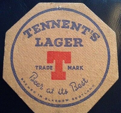 Tennents Lager Beer At Its Best Brewed In Glasgow Scotland Old Beer Mat
