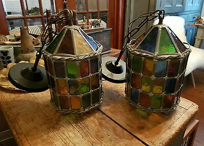Antique Stained Glass Leaded Hangin Lamps..pair..great Shape / Awesome Colors.