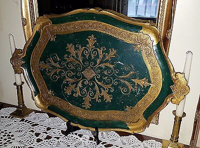 Vintage Italian Papier Mache Green and Gold Florence Serving Tray II