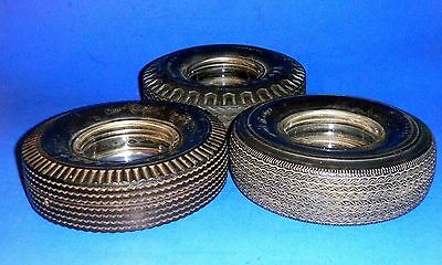 Lot of 3 FIRESTONE Real Rubber Tire Ashtrays - Each One A Different Tire Model