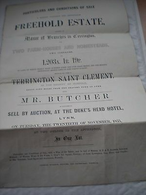 Particulars & Conditions Of Sale Of Manor of Branches In Terrington,Norfolk 1855