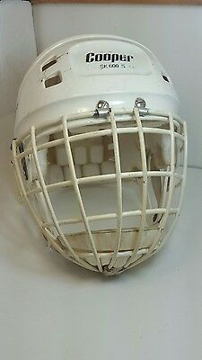 COOPER SK 600s WHITE  HOCKEY HELMET with HM50s goalie WHITE cage good condition.