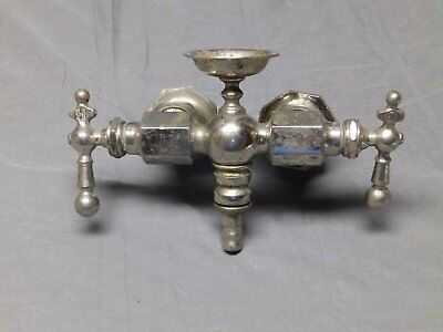 Early Antique Nickel Brass Claw Foot Bathtub Faucet Vtg Millar Fixture 150-17E