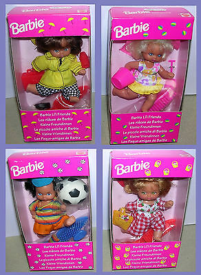 Barbie 4 Vhtf 1993 Little Li'l Friends,complete Serie * Europe Only,foreign Nrfb