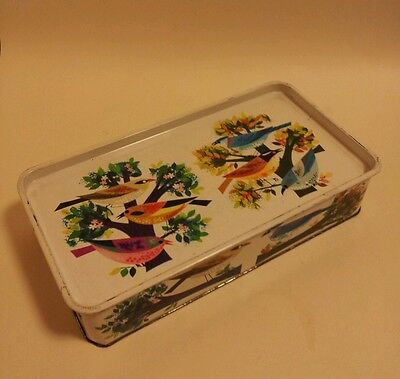 A wonderful Mid century era Cadburys tin vintage birds design retro storage box