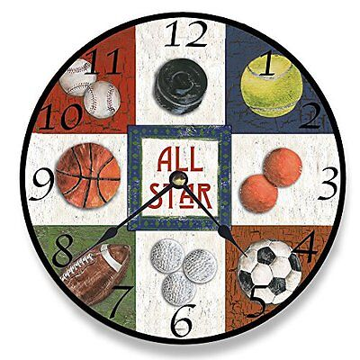 The Kids Room by Stupell All Star Sports Wall Clock Wall Decor, New